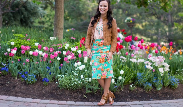 mint floral pencil skirt (5 of 19)