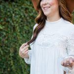 pretty crochet details white top